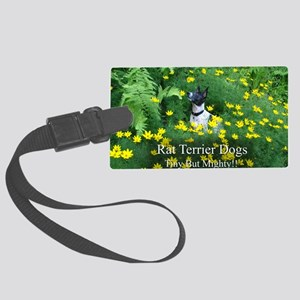 rat_terrier_flowers Large Luggage Tag
