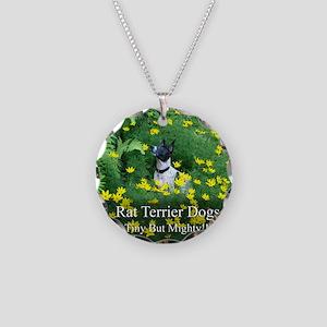 rat_terrier_flowers Necklace Circle Charm