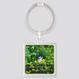 rat_terrier_flowers Square Keychain