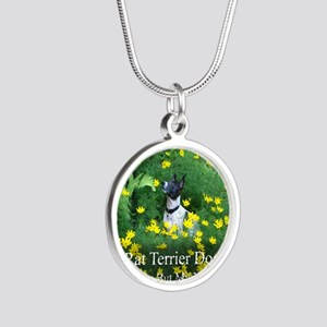 rat_terrier_flowers Silver Round Necklace