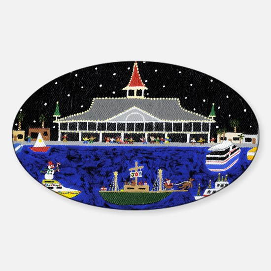 Newport Beach_Christmas Boats on Pa Sticker (Oval)