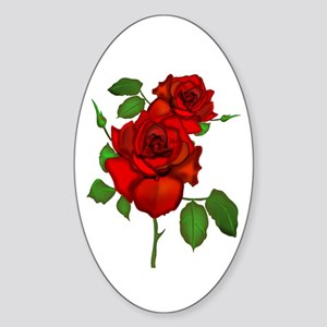 Rose Red Oval Sticker