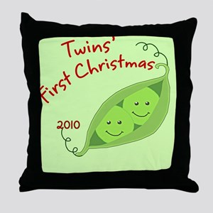 Twins1stChristmas2010 Throw Pillow