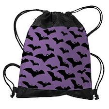 Spooky Halloween Bat Pattern Drawstring Bag