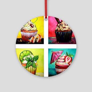 Four Cakes Round Ornament