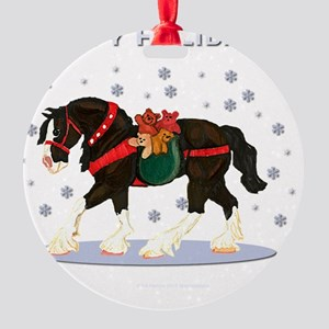 Christmas Clydesdale Round Ornament