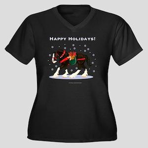 Christmas Cl Women's Plus Size Dark V-Neck T-Shirt