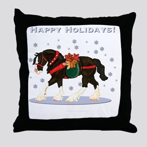 Christmas Clydesdale Throw Pillow