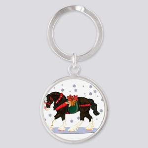 Christmas Clydesdale Round Keychain