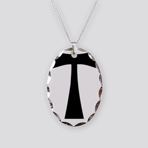 black_tau_cross Necklace Oval Charm