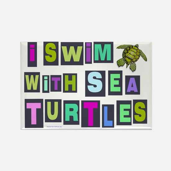 I SWIM WITH SEA TURTLES Rectangle Magnet