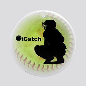 iCatch Fastpitch Softball Round Ornament