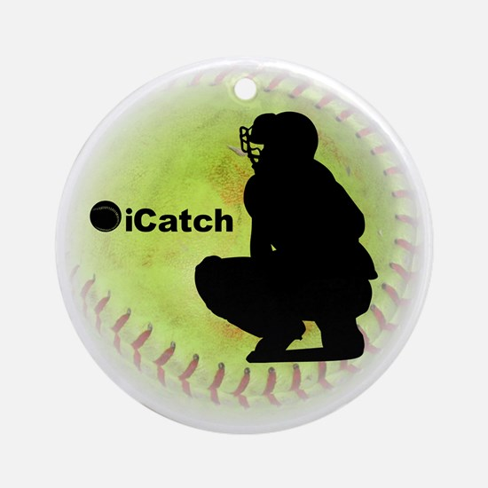 iCatch Fastpitch Softball Round Ornament