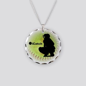 iCatch Fastpitch Softball Necklace Circle Charm