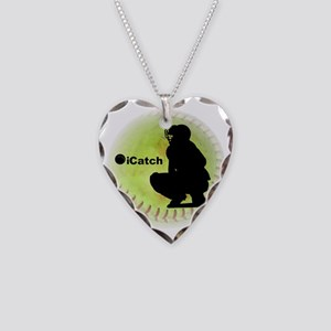 iCatch Fastpitch Softball Necklace Heart Charm