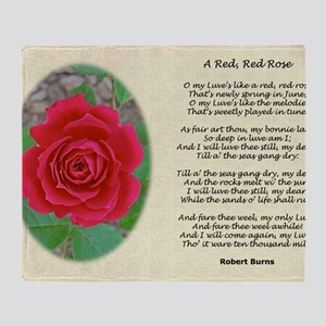 A Red Red Rose Old Classical Poetry  Throw Blanket