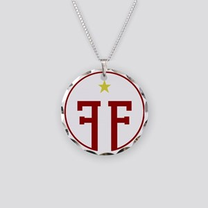 Red Fringe Logo with Star Necklace Circle Charm