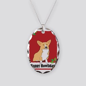 corgi_ylw_xmas_card Necklace Oval Charm