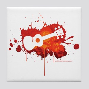Ukulele Splash Red Tile Coaster