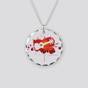 Ukulele Splash Red Necklace Circle Charm