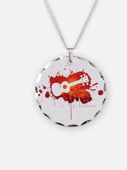 Ukulele Splash Red Necklace Circle Charm