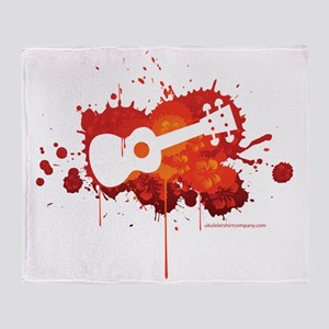 Ukulele Splash Red Throw Blanket