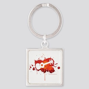 Ukulele Splash Red Square Keychain