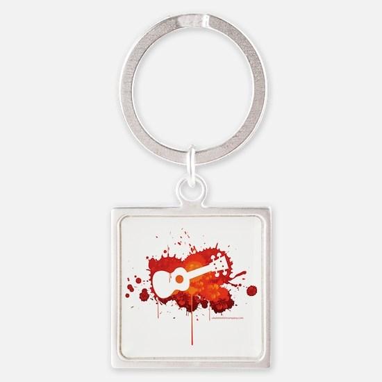 Ukulele Splash Red Square Keychain