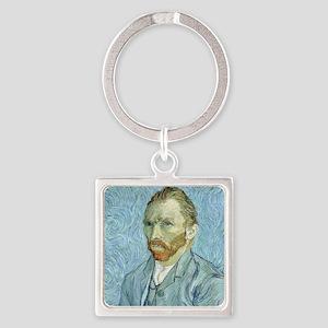 Self portrait, 1889 by Vincent Van Square Keychain