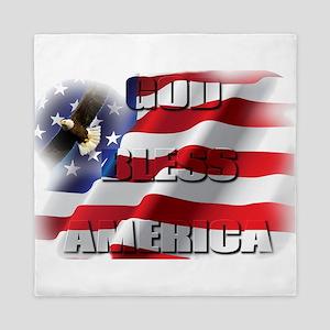 Patriotic God Bless America Soaring Eagle Queen Du