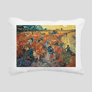 Red Vineyards at Arles,  Rectangular Canvas Pillow