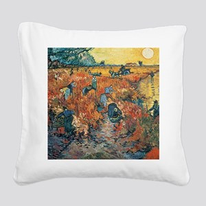 Red Vineyards at Arles, 1888  Square Canvas Pillow