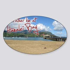 PostcardHanaleiBay Sticker (Oval)