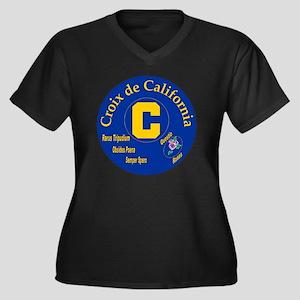 Croix de Cal Women's Plus Size Dark V-Neck T-Shirt
