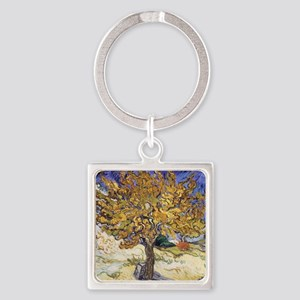 Mulberry Tree, 1889 by Vincent Van Square Keychain