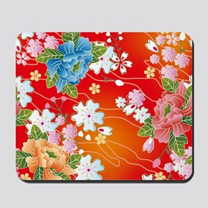 Japanese floral red Mousepad