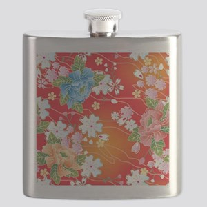 Japanese floral red Flask
