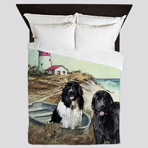 two newfs and boat for blanket Queen Duvet