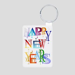 Happy New Years Trans Aluminum Photo Keychain