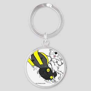Snowmobile Cat in Color Yellow Round Keychain