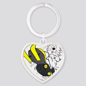 Snowmobile Cat in Color Yellow Heart Keychain