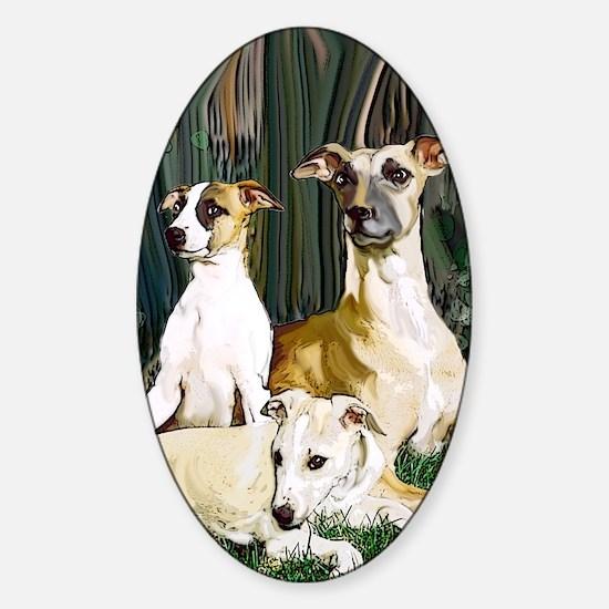 whippet family grouping blanket Sticker (Oval)