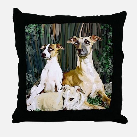 whippet family grouping blanket Throw Pillow