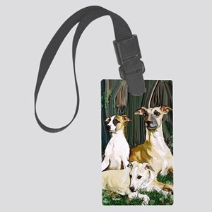 whippet family grouping blanket Large Luggage Tag