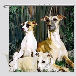 whippet family grouping blanket Shower Curtain