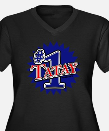 1tatay Women's Plus Size Dark V-Neck T-Shirt