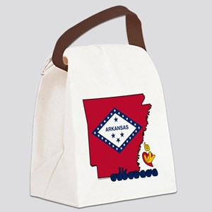 ARstateFlagILY Canvas Lunch Bag
