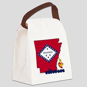 ARstateFlagILY Canvas Lunch Bag