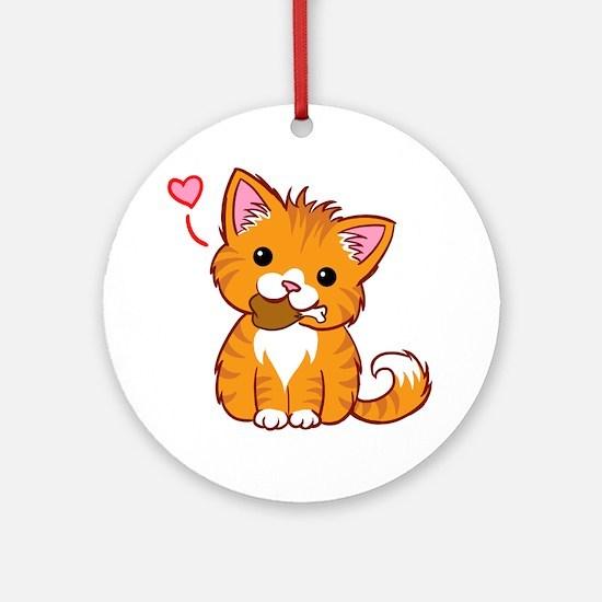 Orange Kitty Love Ornament (Round)