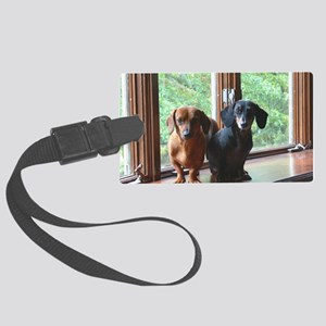 dasie and harley window seat Large Luggage Tag